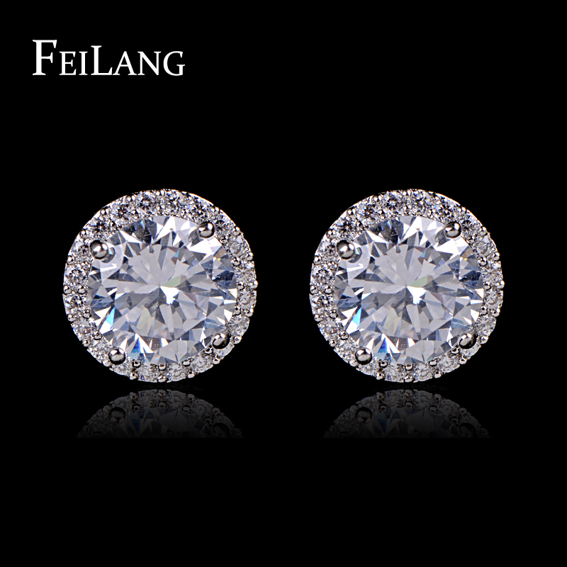 FEILANG White Gold Plating Cut 8mm 2ct Round Shape AAA+ Cubic Zirconia Diamond Stud Earring Design For Women (FSEP003)(China (Mainland))