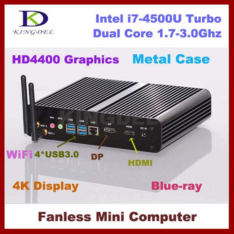 Fanless Thin Client HTPC, Intel i7 -4500U Dual Core, 8GB RAM 64GB SSD, USB 3.0, 4K Display, Wifi, 3D Game, DP(China (Mainland))