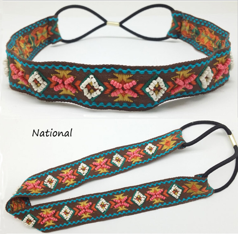 New arrival Wholesale and Retail fashion bohemian colorful handmade glasses beads elastic hairband headband hair accessories