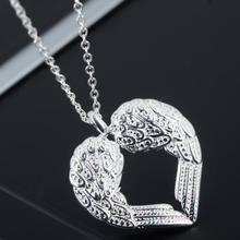 Fashion Women Sterling Silver Angel Wings Heart Necklace 925 Silver Hollow Heart Choker Pendant Necklace Lady Silver Jewlery