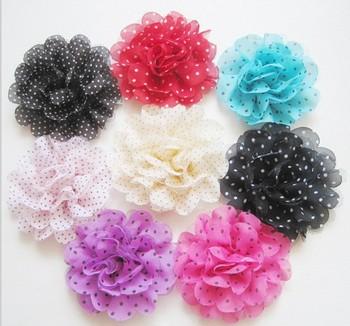 Free Shipping mix color 4'' Chiffon Flowers DIY Fabric Flower Baby Headband Girl's Hair Accessories Handmade Flower FFCD05012