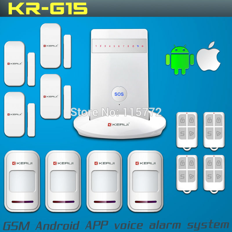 KR-G15 Wireless Alarm Systems Security Home Burglar Alarm System Android/iPhone APP Controlled GSM English/Russian/Spanish Voice<br><br>Aliexpress
