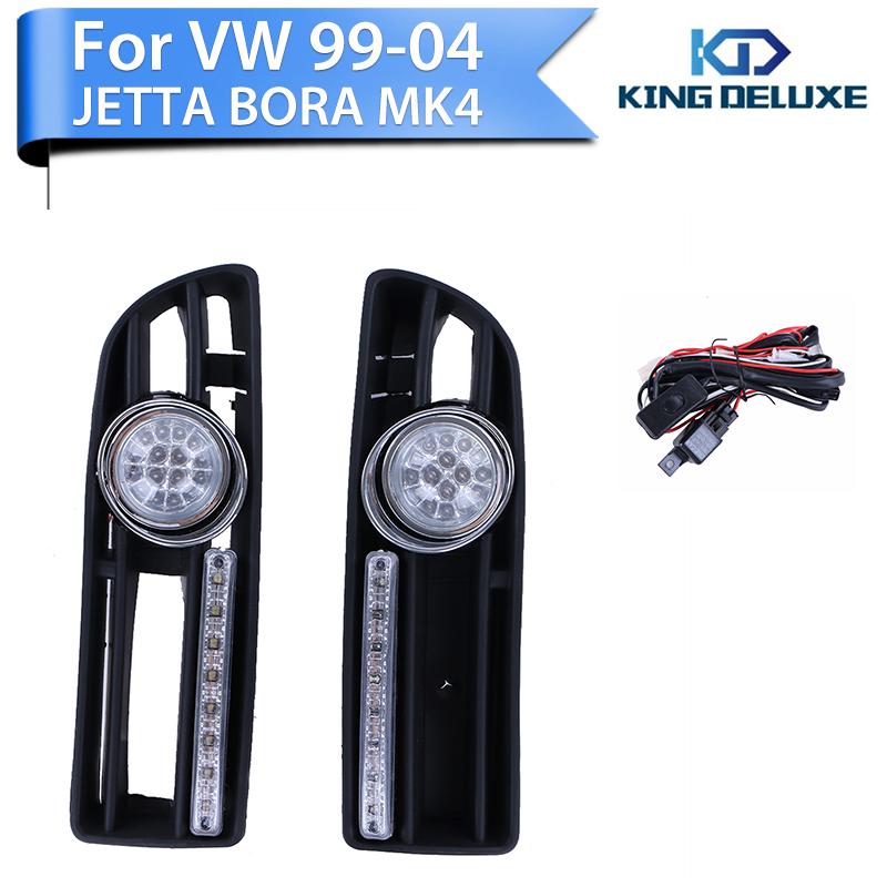 Фотография 2016 1set LED Fog Grille Lights For VW Jetta Bora MK4 TDI 1999-2004 +Switch +Wiring Harness Car Lamps Lights KING DELUXE P72