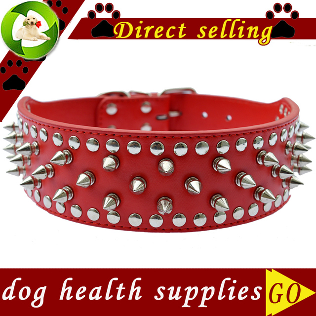 2 Inch Wide Spiked Dog-Collar Large Personalized Pu Leather Collar For Pitbulls Pet Products Size M L XL Dog Health Supplies