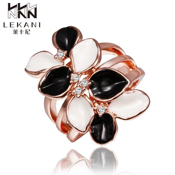 Leaves shape Low treatment 18K Real Gold Plated Ring chequered with black and white engagement accessories sets R495(China (Mainland))