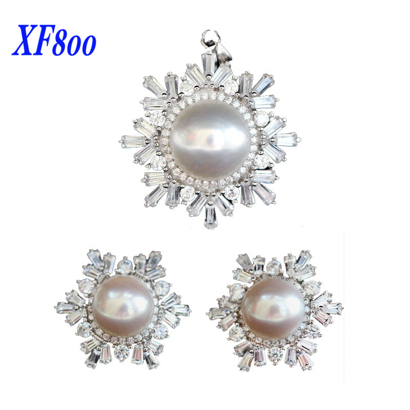 XF800 snowflake design natural freshwater pearl jewelry set, big size real pearl pendant & earring best gift for women S58