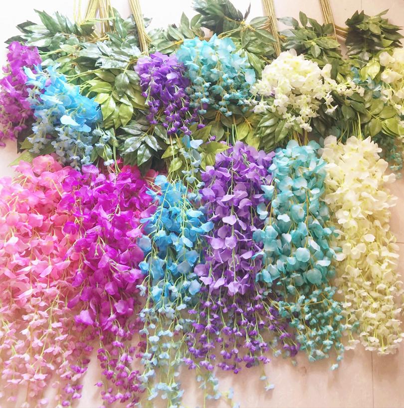 Silk Wisteria Vines 12pcs 105cm Artificial Wisteria Flower Garlands for Wedding Photography Christmas Home Decorations(China (Mainland))