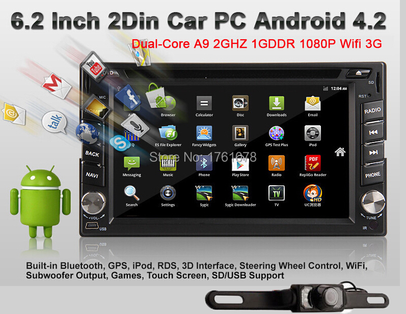 Camera+Pure Android 4.2 Car PC double 2 din Universal Car Radio Stereo GPS Navi DVD CD mp3 Player vw/mazad/toyota Wif-3G+USB+SD(China (Mainland))