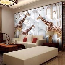 papel de parede 3D Photo Wallpaper European Style Stereoscopic 3D TV Giraffe background Mural Wall Wallpaper Modern Living room(China (Mainland))
