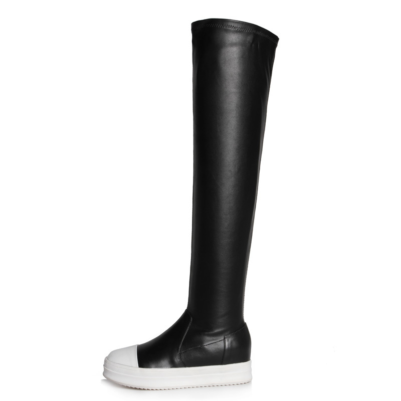 Фотография Sexy Long boots winter boots for women Black Round Toe Over-the-Knee Boots new fashion Platform Grain Leather shoeswomen