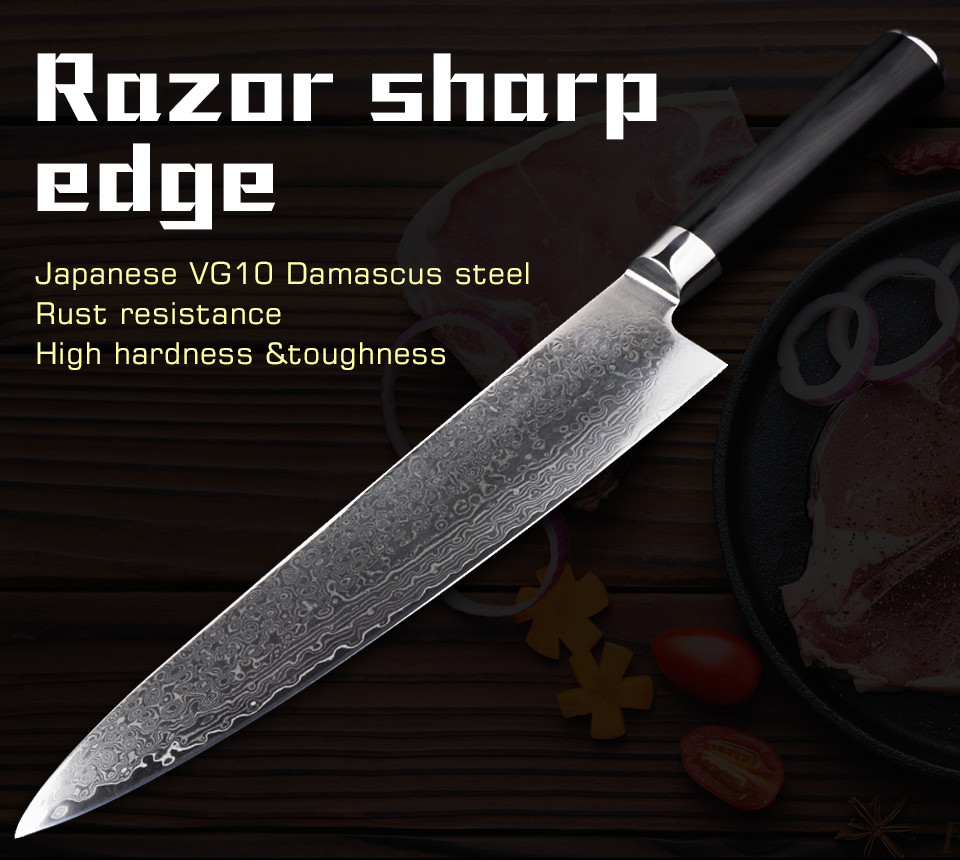 Buy 9.5 Inch Japanese VG10 damascus knives new Kitchen Knife very sharp meat cutting damascus meat  Cleaver  couteau cuisine cheap