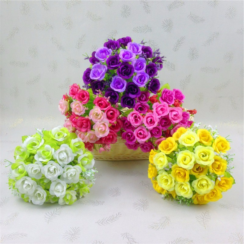 1 Bouquet 21 Head Fake Rose Wedding Party Home Decor Silk Flower Decorative Flowers Artificial Decorative Flowers