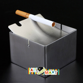 Stainless Steel Cigarette Ashtray with Flip Lid Free Shipping