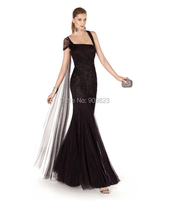 Aliexpress.com Comprar Vestido De Fiesta del Collar del cuadrado plisado con cuentas cintura Natural del tobillo sirena Tulle vestidos De noche vestidos