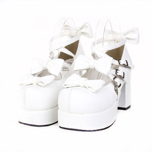 New hand made Punk babydoll cosplay lolita shoes white platform high heel bowtie girl party shoes size 34-44(China (Mainland))