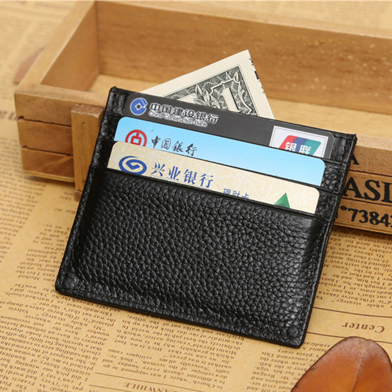 One piece wallet men genuine leather simple style quality guarantee small card holder black smart wallets small male clutch(China (Mainland))