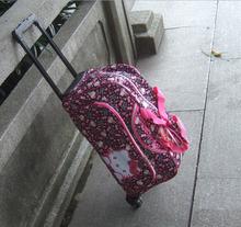 Free Shipping Hello Kitty Bag Women Travel Bag  European American Style Velvour Travel Duffle Women Luggage Travel Bags KI0045(China (Mainland))