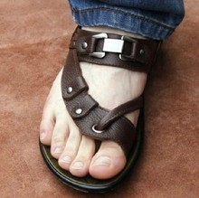2015 cowhide male sandals genuine leather flip-flop sandals male casual sandals flip flops breathable men's flats shoes