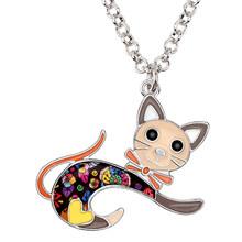 Bonsny سبائك المينا القفز القط هريرة المختنق قلادة سلسلة قلادة موضة أنيمي مجوهرات للنساء الفتيات في سن المراهقة اكسسوارات هدية(China)