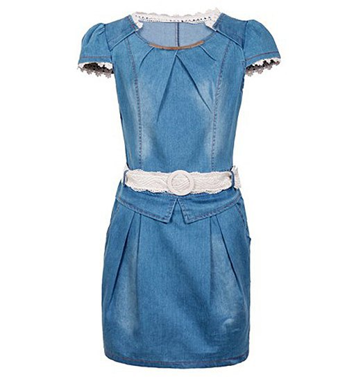 Stylish Lace Embellished Cap Sleeve Women's Jeans Dress - Come see or shopping store