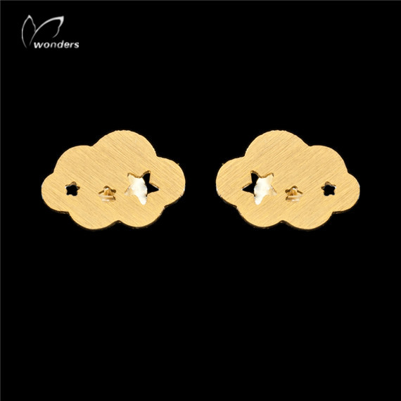 2016 Fashion Kids Earring Gold Silver Unique Weather Jewelry Simple Cloud Stud Earrings For Women(China (Mainland))