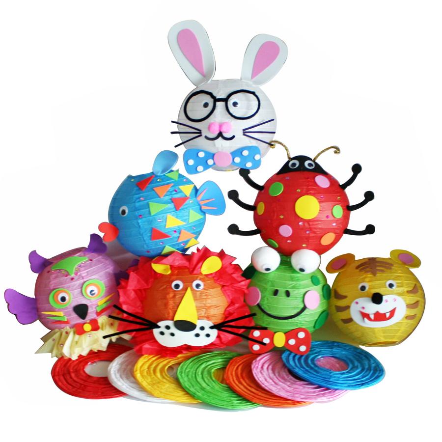 5 PCs children diy animal lantern toys/ Kids Child festival handmade cartoon multi color paper lantern for Halloween decoration(China (Mainland))