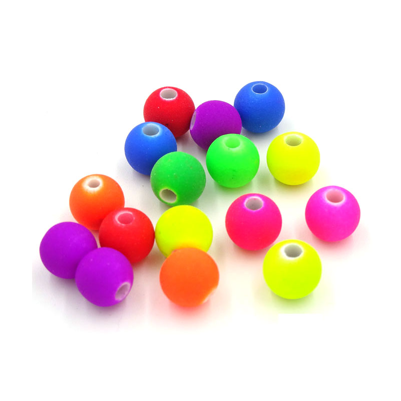 200pcs Mixed Matte Fluorescent Neon Beads Acrylic Spacer Ball Round Bead Perline Colorate Palla Di Perline Granos De Acrilico(China (Mainland))