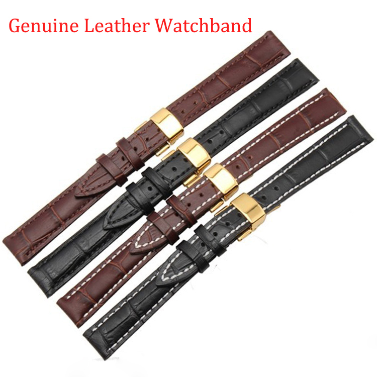 12mm 14mm 16mm 18mm 19mm 20mm 21mm 22mm New Black Brown Genuine Leather Watchband Watch Band Strap Bracelet With Gold deployment