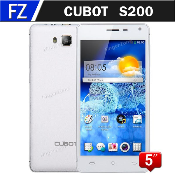 "In Stock CUBOT S200 5.0"" IPS HD MTK6582 Quad Core Android 4.4.2 3G Unlocked Smart Phone 13MP CAM 1GB RAM 8GB ROM WCDMA Russian(China (Mainland))"