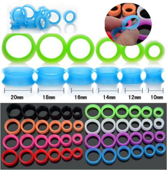 180pcs/lot Colorful Plug High Quality Silicone Ear Tunnel 6mm-25mm Body Piercing Jewelry Free Shipping<br><br>Aliexpress