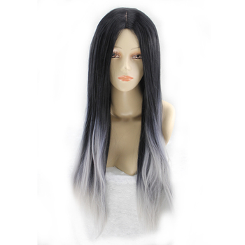 Long Straight Synthetic Cosplay Wig – Black and Grey Ombre Tone, Heat Resistant