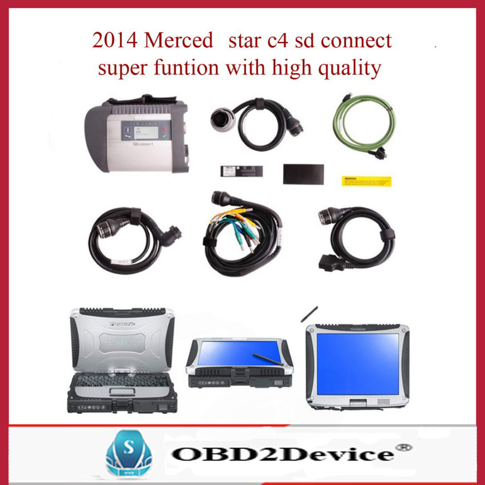 TOP Quality 2015-07 MB Star C4 Sd Connect With Panasonic Military Laptop CF-19 Buy mb star c4 Get Free Gift OBD Charging Cable(China (Mainland))