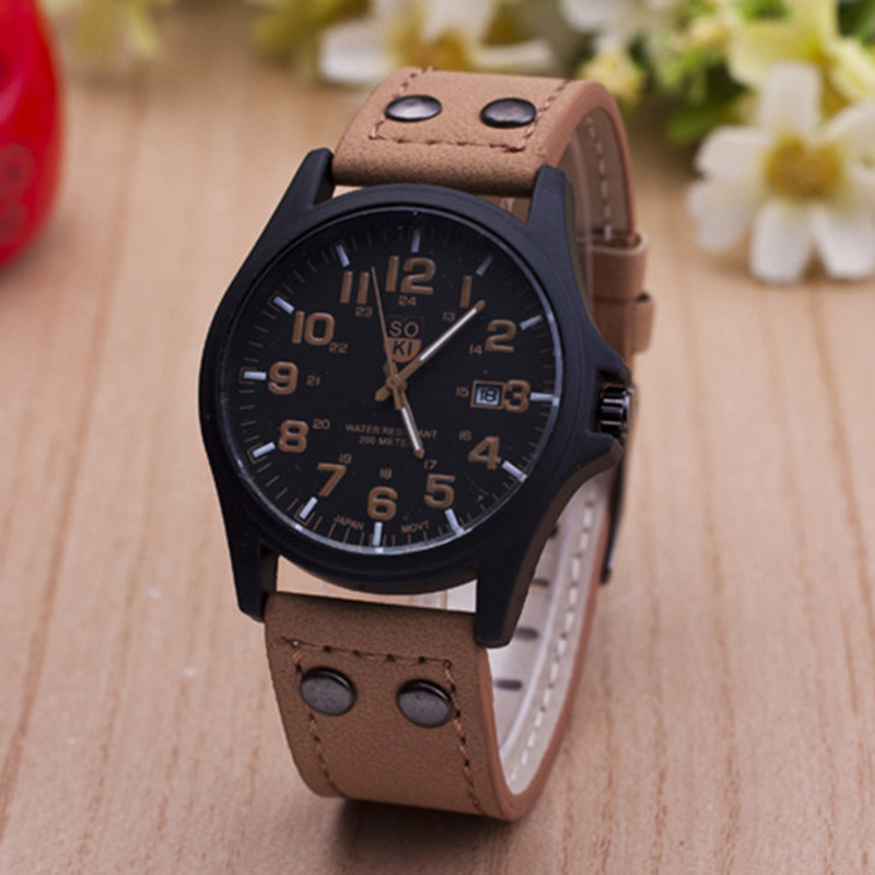2015 New Fashion Watches Men Military Watch Business Watch Man Genuine Leather Strap Casual Wristwatches relogio  Masculino<br><br>Aliexpress