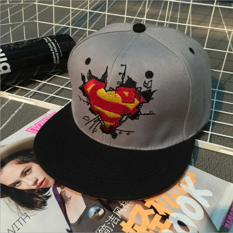 2016 New Fashion Cotton Unisex Bones Hat Popular models Superman Cap Flat Hip-Hop Casual Snapback Hats(China (Mainland))