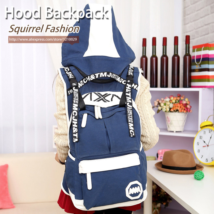 Гаджет  Squirrel fashion vogue casual canvas unisex letter backpacks with hood Rucksack pattern preppy style travel girls hat school bag None Камера и Сумки