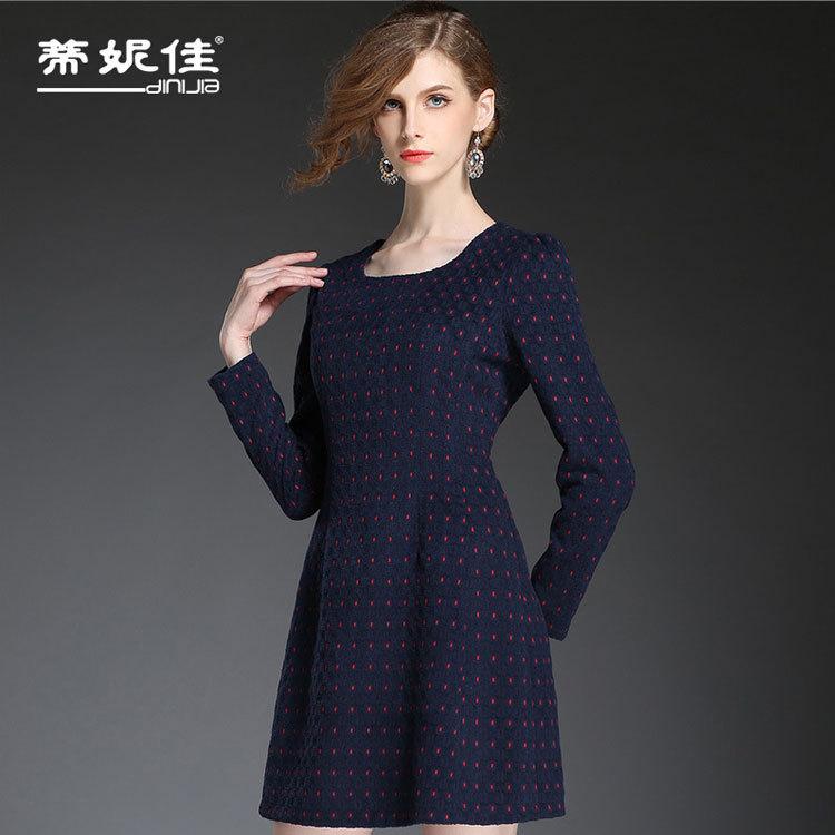Europe  high-grade brand ladies agent wave point render dress cloth long-sleeved dress