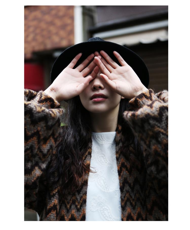 2015  winter Japanese retro thick jacquard all-match Свободный Длинный свитер coat