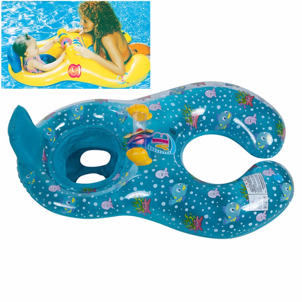 Safe Soft Inflatable Mother & Baby Swim Float Ring Kids Seat Double Person Swimming Pool, Blue/Yellow Free Shipping(China (Mainland))