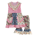 Big Promotion Summer Style Girls Boutique Clothing Set Multi pattern Patchwork Pink Dot Ruffle Pants Kids