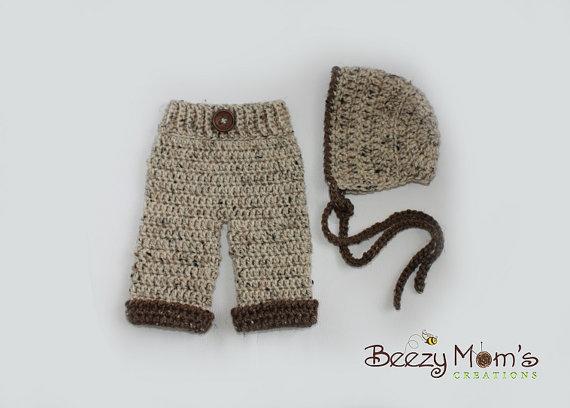 Free shipping Baby boy pixie hat Matching pants baby Sets,knit baby pants Newborn handmade crochet Photography Prop(China (Mainland))