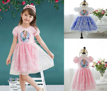 2016 Hot Summer Girls Cartoon Anna Children Vestidos Elsa Lace Baby Princess Dress Children Kids Party Custom Cosplay Dresses