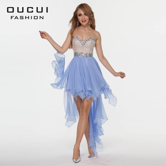 Оскар новинка дизайн Handmake кристалл высокий низкий шифон коктейльные платья OL102344 ...