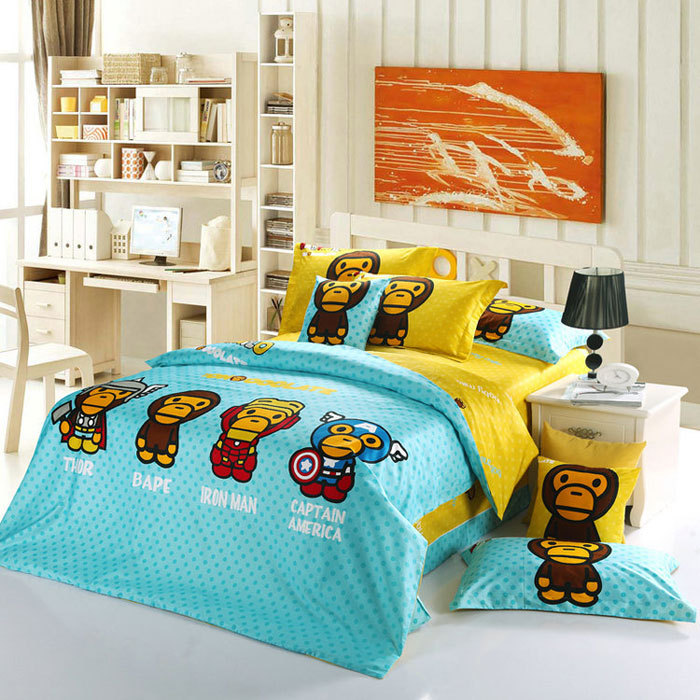 Kids bedding set full and double size blue and yellow - Blue and yellow bedding sets ...