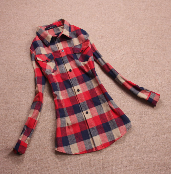 Sale female body spring and winter  Flannel slim S-XXXL cotton100% plaid sheer blouses shirts casual  tops long sleeve clothing