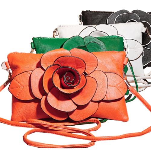 Big Flower Faux Leather Clutch Sling Shoulder Bags Handbag Casual Purse Zipper bag B364(China (Mainland))
