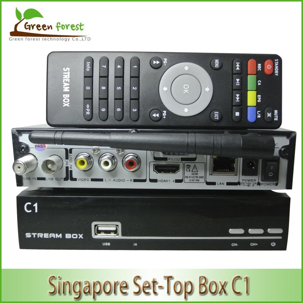 2015 New New smart TV box C1 Full HD 1080P Singapore IPTV Set Top Box DVB-S2 MPEG4/H.264 HD TV cable receiver IPTV(China (Mainland))
