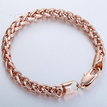 7mm Womens Mens Chain Wheat White Rose Gold Filled GF Bracelet Daily Wear Party Wholesale Gift Jewelery Jewellery LGB186(China (Mainland))