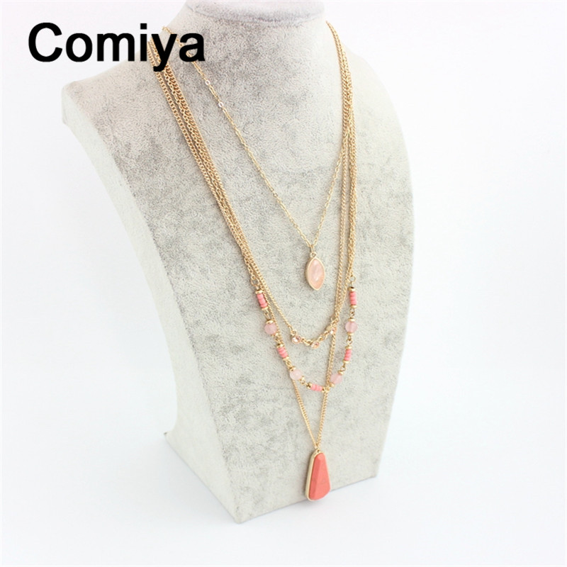 Pink bead accessories kolye perlas jewelry collier femme one directione fashion geometric crystal stones statement necklace cc(China (Mainland))