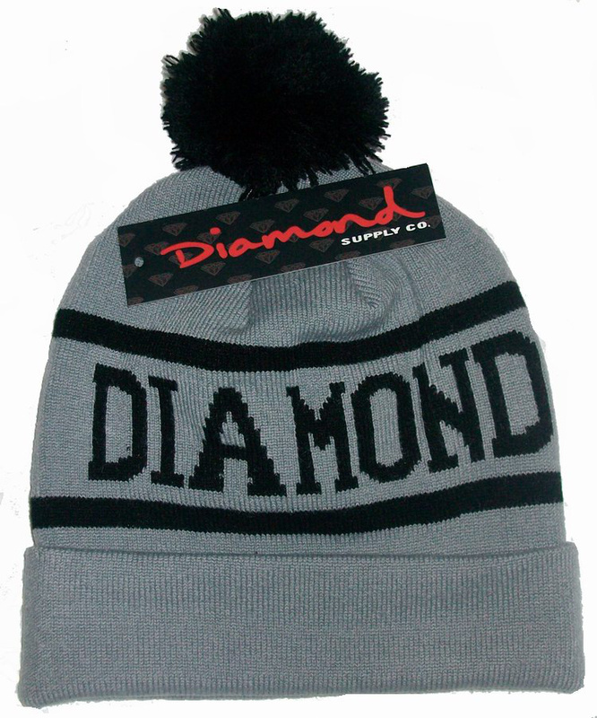 Hip-Hop Unisex DIAMOND SUPPLY CO Gray With Black Beanies Wen's Women's Winter knit Cotton wool Hats Snapback caps 1pcs/lot(China (Mainland))