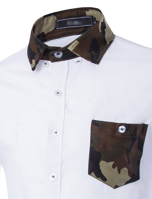 Men Shirt 2015 Fashion Men S Long Sleeved Shirt Male Chest Camouflage Brand Camisa Masculina Casual